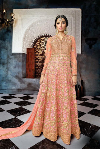 Rose Pink Color Butterfly Net Semi Stitched Salwar - Gulnaaz-7072
