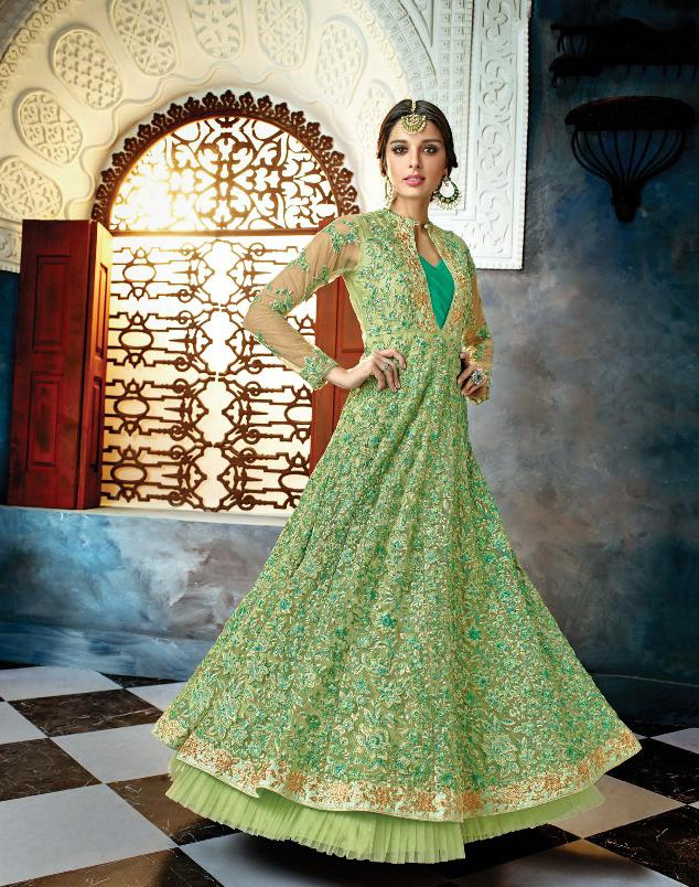 Buy Olive Green Color Butterfly Net Semi Stitched Salwar