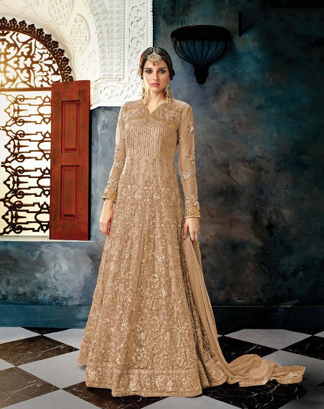 Buy Biscuit Color Butterfly Net Semi Stitched Salwar