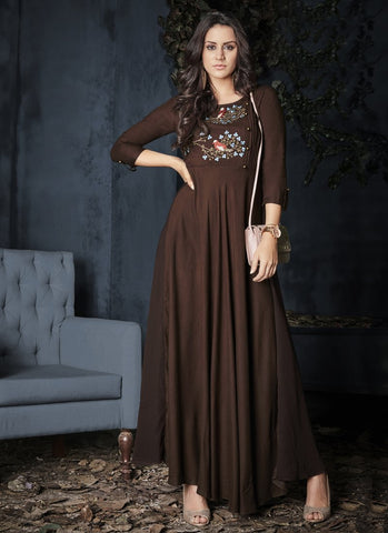 Brown Color Heavy Rayon Stitched Gown - Gulnaz1-6001