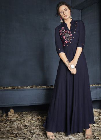 Navy Blue Color Heavy Rayon Stitched Gown - Gulnaz1-6004