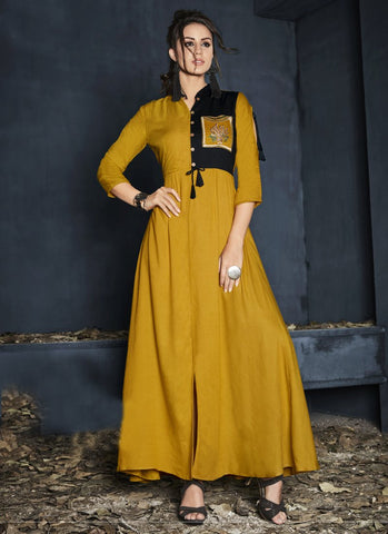 Yellow Color Heavy Rayon Stitched Gown - Gulnaz1-6005