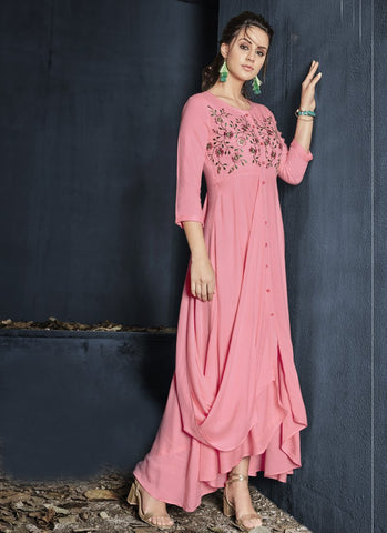 Baby Pink Color Heavy Rayon Stitched Gown - Gulnaz1-6007