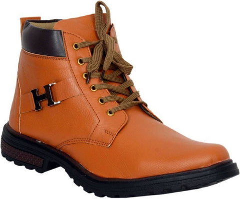 Tan Color Synthetic Leather Boots  - H-Boot