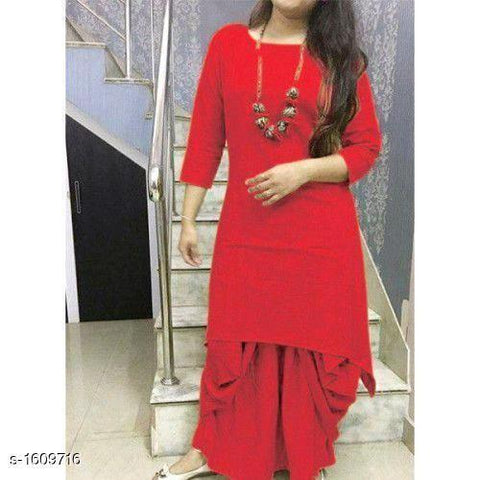 Red Color Cotton Women's Stitched Kurti - HAPPYCLAP-RED-DHOTI-KURTA