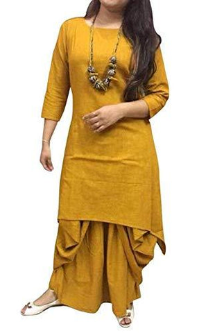 Yellow Color Cotton Women's Stitched Kurti - HAPPYCLAP-YELLOW-DHOTI-KURTA