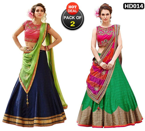 Pack of 2 - Blue and Green Color Banglori Silk Women Stitched Lehengas - HK-003-Lehenga, HK-004-Lehenga