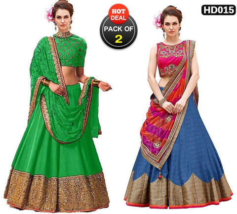 Pack of 2 - Green and Teal Color Banglori Silk Women Stitched Lehengas - Shakshi-Green-Lehenga, HK-008-Lehenga