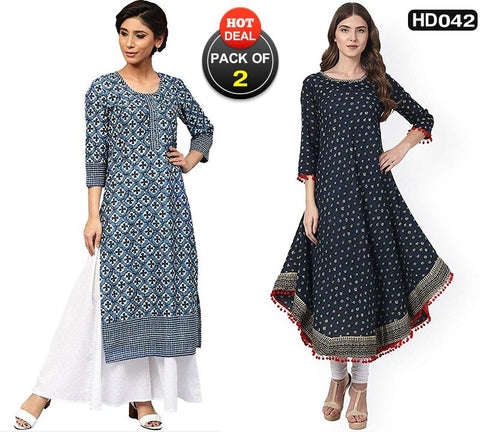 Pack of 2 - Blue Color Cotton Women Stitched Kurtis-SA-Indigo-kurti, SA-Blue-Anarkali
