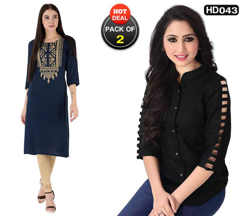 Pack of 2 - Navy Blue and Black Color Cotton Women's Stitched Kurti and Top-SA-M_D-kurti, SA-Black-Top