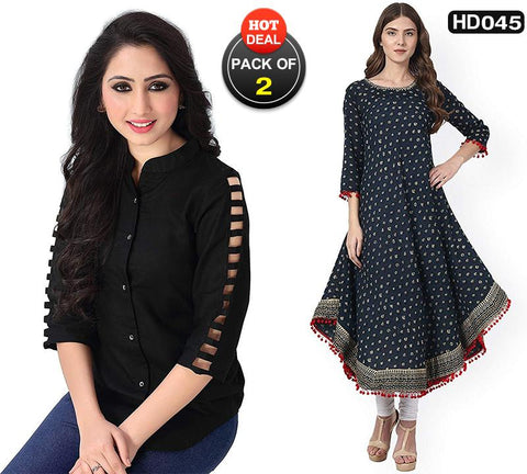 Pack of 2 - Black and Blue Color Rayon Women's Stitched Top and Kurti-SA-Black-Top, SA-Blue-Anarkali