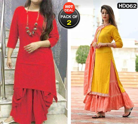 Pack of 2 - Multi Color Cotton Women Stitched Kurtis - HAPPYCLAP-RED-DHOTI-KURTA, HP-YELLOW-GOTAPATI-SET