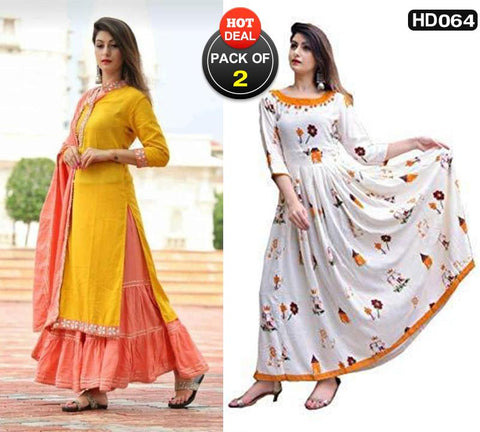 Pack of 2 - Multi Color Cotton Women Stitched Kurtis - HP-YELLOW-GOTAPATI-SET, HP-WP-R