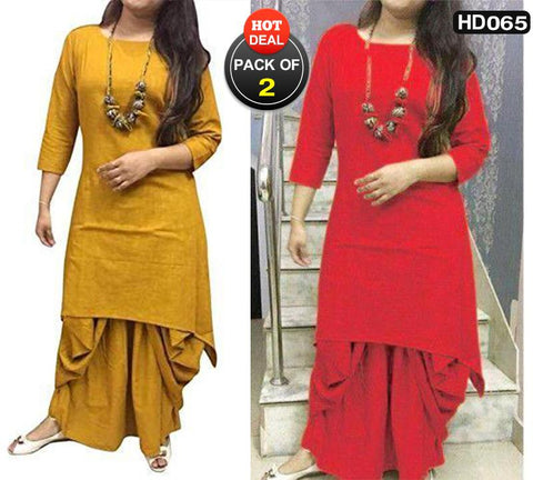 Pack of 2 - Multi Color Cotton Women Stitched Kurtis - HAPPYCLAP-YELLOW-DHOTI-KURTA, HAPPYCLAP-RED-DHOTI-KURTA