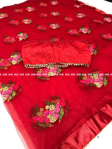 Red Color Pure Mono Net Saree - HD1041-RED