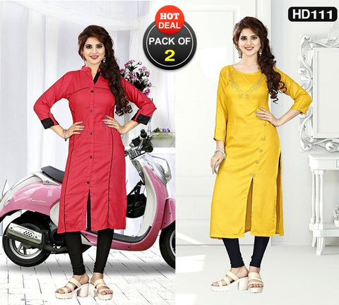 Pack of 2 - Rose Red and Yellow Colors Stitched Kurtis - VAT290A, VAT285A