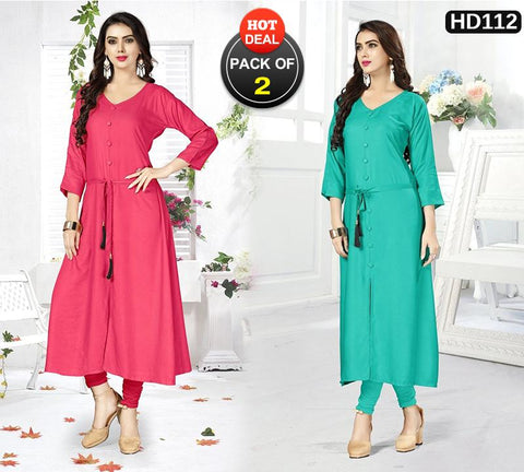 Pack of 2 - Pink and Turquoise Color Stitched Kurtis - VAT332A, VAT340A