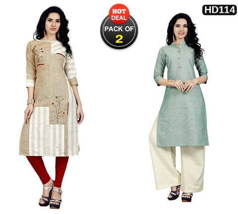 Pack of 2 - Multi Color Stitched Kurtis - VT420A, VT423A