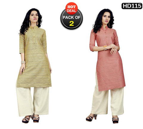 Pack of 2 - Mahendi and Red Colors Stitched kurtis With Palazzos - VT424A, VT426A