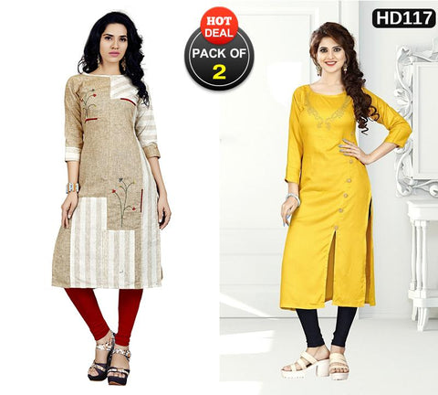 Pack of 2 - Multi Color Stitched Kurtis - VT420A, VAT285A