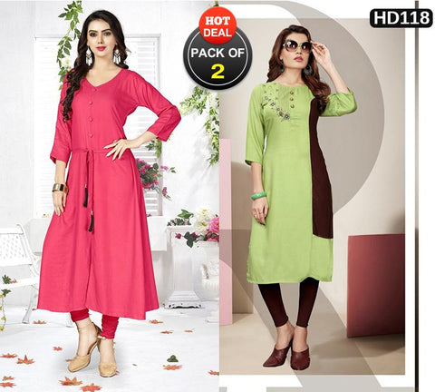Pack of 2 - Multi Color Stitched Kurtis - VAT332A, VT390