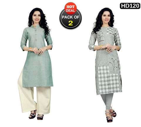 Pack of 2 - Multi Color Stitched Kurtis - VT423A, VT419A
