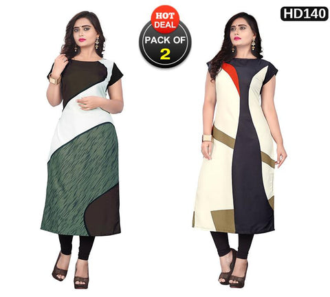 Pack of 2 - Multi Color Women Stitched Kurtis - SKE-234, SKE-233