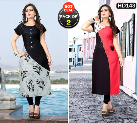 Pack of 2 - Multi Color Women Stitched Kurtis - SKE-182, SKE-183