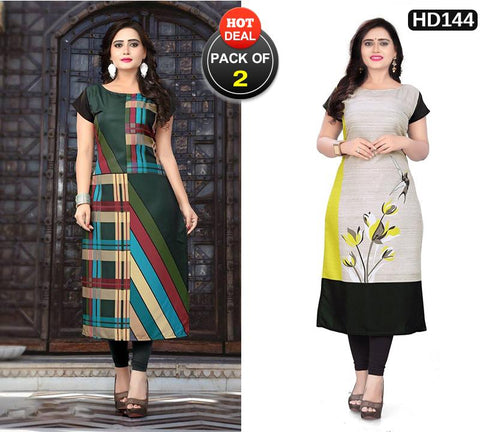 Pack of 2 - Multi Color Women Stitched Kurtis - SKE-185, SKE-231