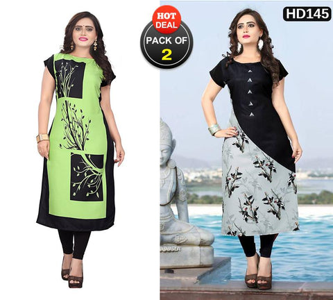 Pack of 2 - Multi Color Women Stitched Kurtis - SKE-232, SKE-182