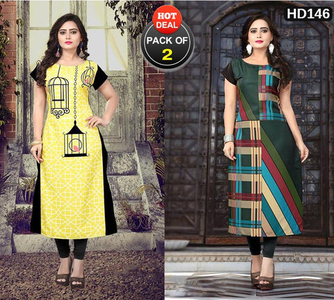Pack of 2 - Multi Color Women Stitched Kurtis - SKE-166, SKE-185