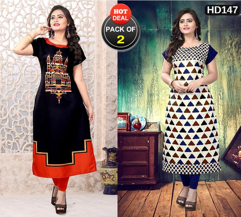 Pack of 2 - Multi Color Women Stitched Kurtis - SKE-163, SKE-167