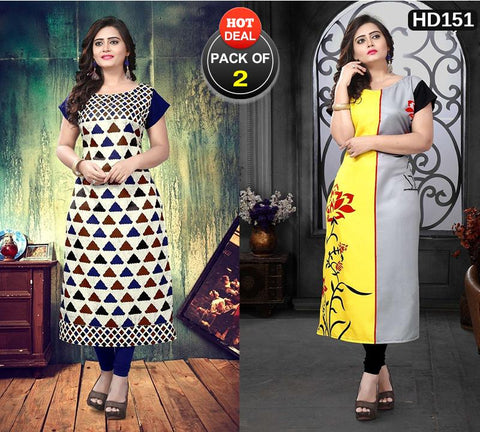 Pack of 2 - Multi Color Women Stitched Kurtis - SKE-167, SKE-168