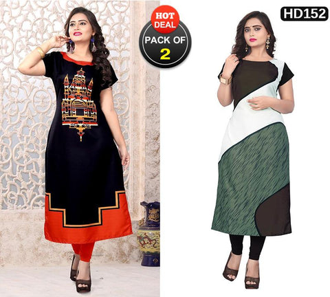 Pack of 2 - Multi Color Women Stitched Kurtis - SKE-163, SKE-234