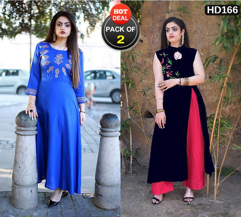Pack of 2 - Multi Color Women Stitched Kurtis - A32-ROYAL-BLUE, A42-NAVYBLUE