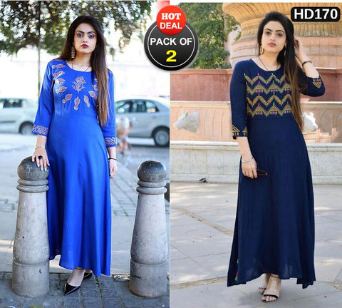 Pack of 2 - Multi Color Women Stitched Kurtis -  A32-ROYAL-BLUE, A52-navy