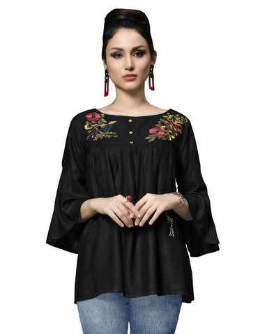 Black Color Slub Rayon Women's Stitched Kurti - HEER-7402