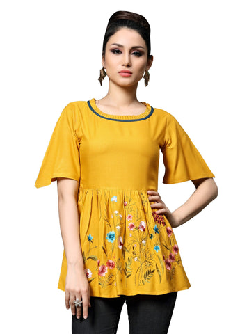 Yellow Color Slub Rayon Women's Stitched Kurti - HEER-7403