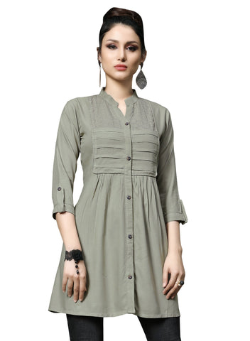 Grey Color Slub Rayon Women's Stitched Kurti - HEER-7404