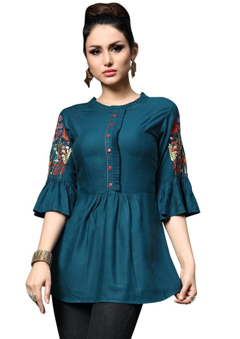 Teal Color Slub Rayon Women's Stitched Kurti - HEER-7405