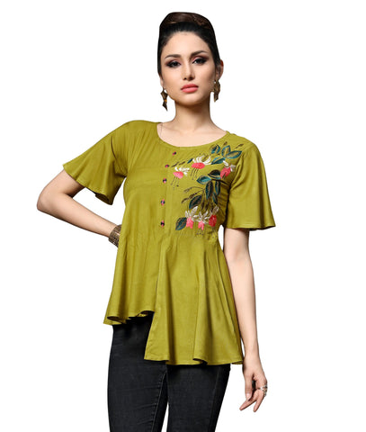 Sea Green Color Slub Rayon Women's Stitched Kurti - HEER-7406