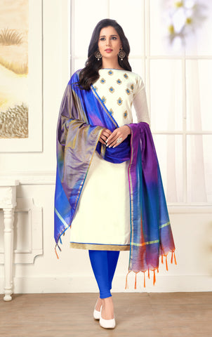 White Color Cotton UnStitched Salwar - HENNY-01