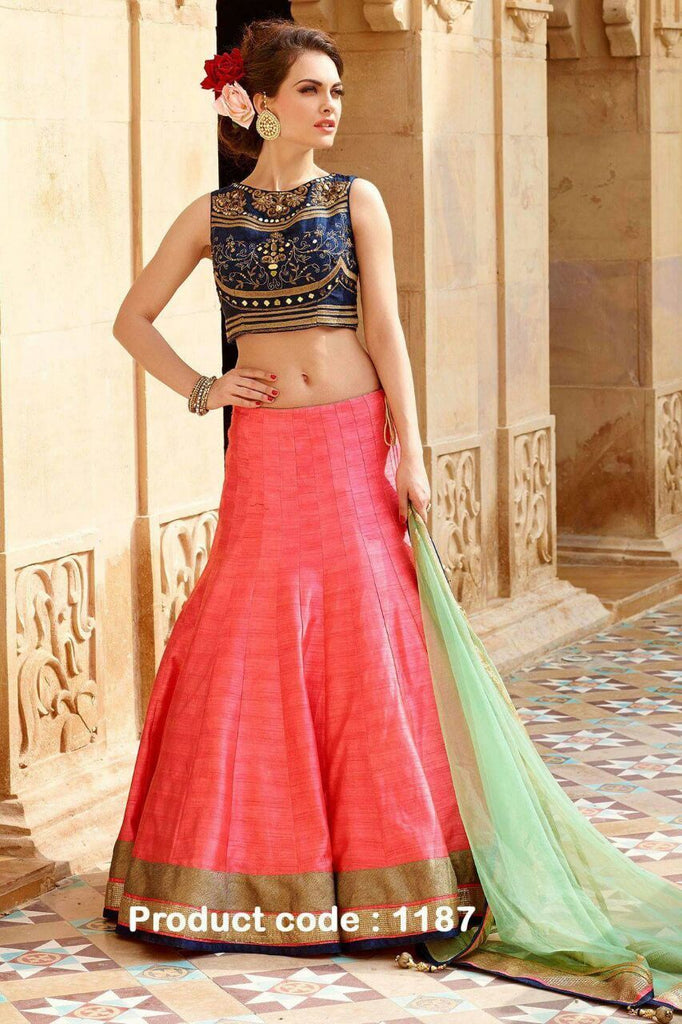 Buy Pink Color Banglori Silk Stitched Lehenga