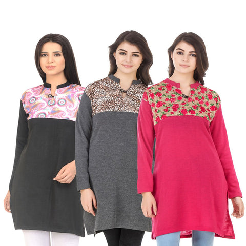 COMBOS-Multi Color Wool Stitched Kurtis - HKURTI-BLACK-DGRY-DPINK