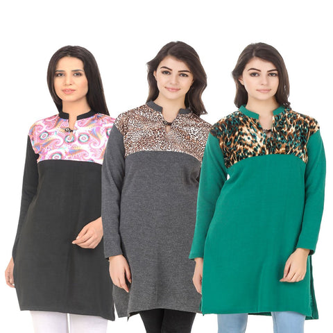 COMBOS-Multi Color Wool Stitched Kurtis - HKURTI-BLACK-DGRY-GREN
