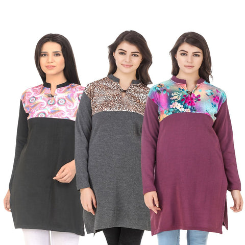 COMBOS-Multi Color Wool Stitched Kurtis - HKURTI-BLACK-DGRY-MARON