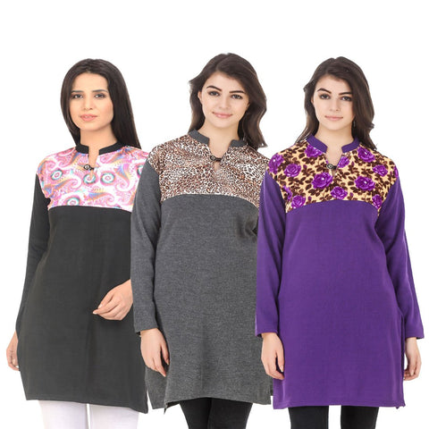 COMBOS-Multi Color Wool Stitched Kurtis - HKURTI-BLACK-DGRY-PURPLE