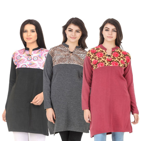 COMBOS-Multi Color Wool Stitched Kurtis - HKURTI-BLACK-DGRY-RED