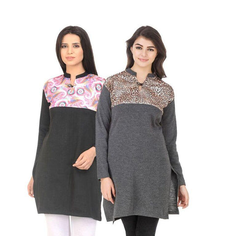 COMBOS-Multi Color Wool Stiched Kurtis - HKURTI-BLACK-DGRY