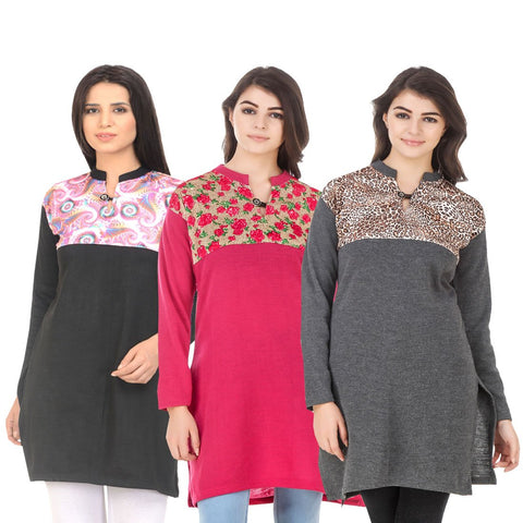 COMBOS-Multi Color Wool Stitched Kurtis - HKURTI-BLACK-DPINK-DGRY
